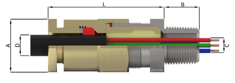 Двойное уплотнение для небронированного кабеля с уникальной запатентованной системой зажима брони Peppers CROCLOCK® и герметизацией компаундом Peppers T-1000